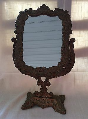 Vintage Ornate Cast Iron Victorian Standing Swivel Mirror with Gold Finish