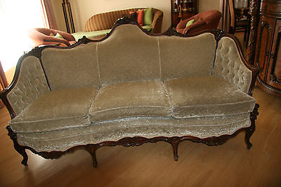 Antique Victorian Sofa in Velvet with Hand Carved Wood