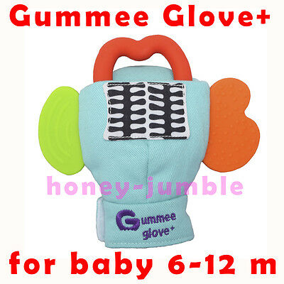 Gummee Glove+ PLUS Teething Mitten Original Turquoise with Pouch BPA Free