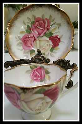 Queen Anne Heavy Gold Rose Cup &Saucer
