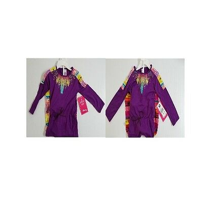 21st Century Girl - Purple Top Feather Applique with Aztec pattern pants