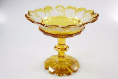 ANTIQUE 19th Century BOHEMIAN AMBER CRYSTAL GLASS COMPOTE
