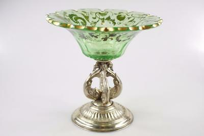 ANTIQUE 19th Century BOHEMIAN GREEN CRYSTAL GLASS COMPOTE