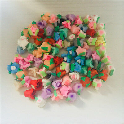 50/100qty! 8/10/12mm Three-petals Polymer Fimo Clay Flower Spacer Loose Beads