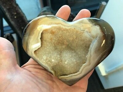 Agate & Crystal Druze Heart - High Grade Agate From Brazil (#0350)