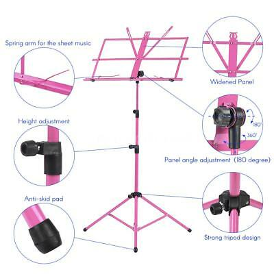 Adjustable Folding Sheet Music Tripod Stand Holder Heavy Duty Pink+Case Hot U5O9