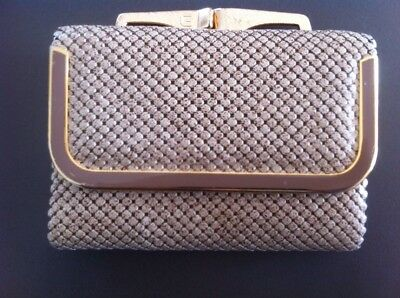 Vintage GLOMESH Wallet Clip Coin Purse Flecked Cream & Gold Beige