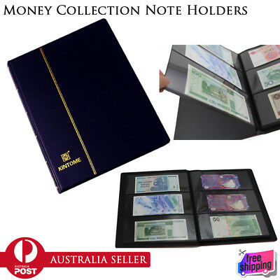 Paper Money Note Holders Collection Collecting Storage Pockets Album Book BLUE