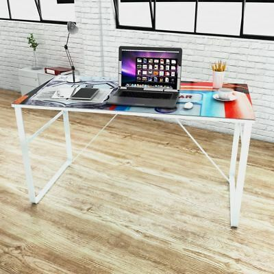 Modern Computer Desk Rectangular Study Office Laptop PC Glass Table w/ Printing