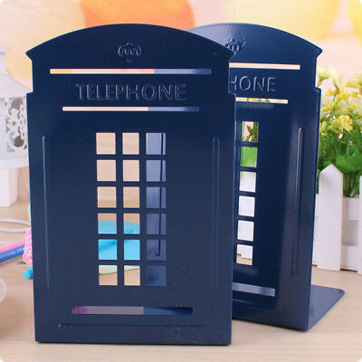 1pair Telephone Booth Non-Slip Iron Bookends For Home and Office (Blue)