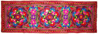 Floral Embroider Wall Hanging Wall Tapestry Home Decor Table Runner Indian Art