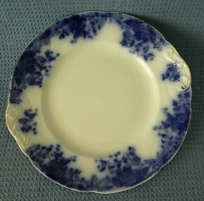 Antique 1800s vintage Flow Blue plate Marguerite cobalt dinner flowers England