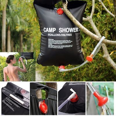 20L Outdoor Solar Shower Bag Camping Shower Water Sun Compact Heated Portable