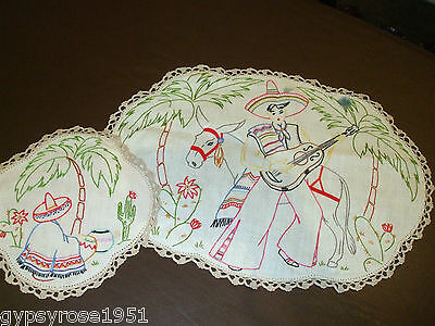 (2) Vintage Hand Embroided Doilies. Hand Crochet Lace Edging