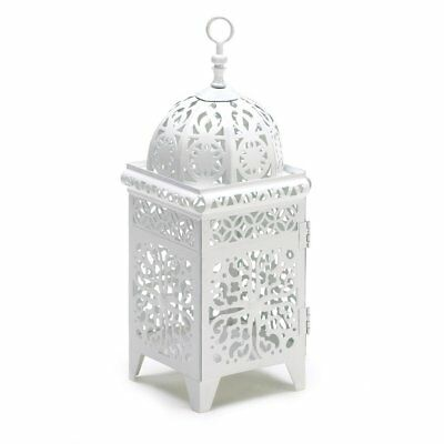 White Lantern Candle Holder, Antique Rustic Scrollwork Candle Lantern Holder