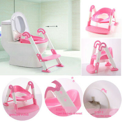 Kids Pink Toilet Potty Trianer Ladder Seat 3 IN 1 Step Foldable Portable Chair