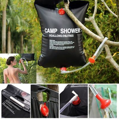 Outdoor Solar Shower Bag Camping Shower Water Sun Compact Heated Portable CA