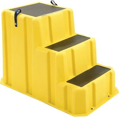 3 Step Nestable Plastic Step Stand - Yellow 26'W X 43'D X 28'H - NST-3 YEL