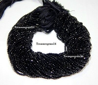 3-4 Mm. Natural Top Black Spinel Faceted Rondelle Beads Gemstone 13 Inch Strand