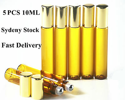 Glass Bottles 5x 10ml Amber Metal Roller Essential Oil Refillable Aromatherapy A