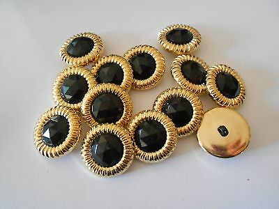 M110 * 12 Gold & Black Sparkle Resin/plastic Shank Buttons New 20Mm