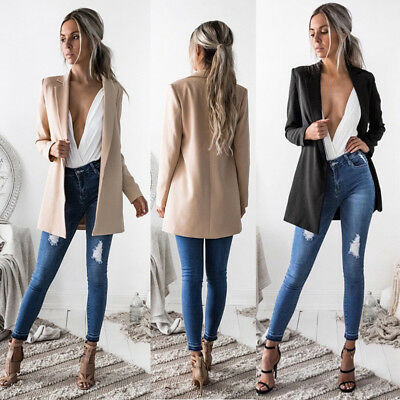 Womens Fashion Casual Long Duster Cardigan Jacket Trench Waterfall Coat Outwear