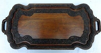 Antique Wooden Carved Serving Tray Indian? Beautiful Floral Design Drinks Wood