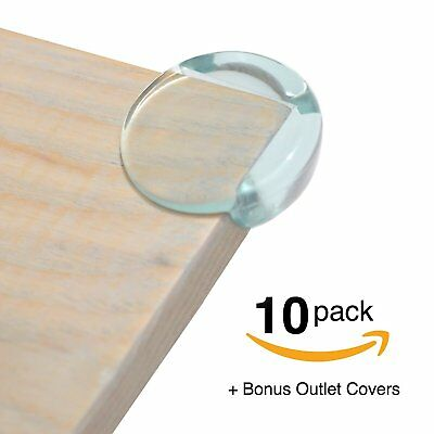 FitFabHome 10 Pack Premium Clear Corner Guards | BONUS ELECTRICAL OUTLET COVERS