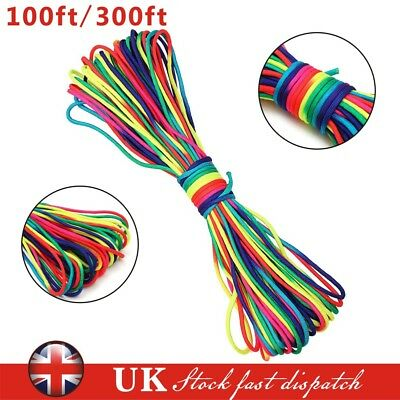 100/300ft Rainbow 550 Paracord Rope 7 Strand Parachute Cord Camping Hiking
