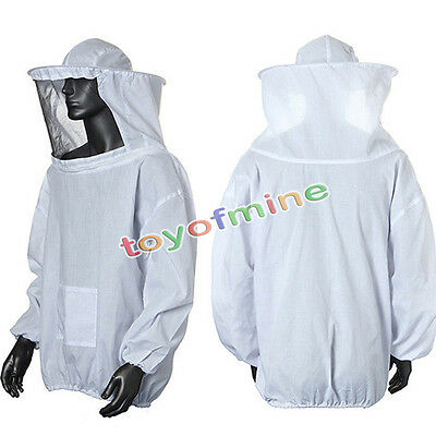 Beekeeping Protective Jacket Veil Dress Suit With Pull Hat Smock White HQ