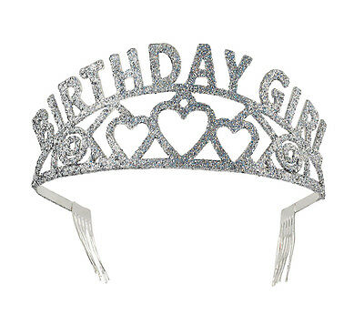 Birthday Glittery Tiara Girl Princess Queen Fancy Dress Party Accessory