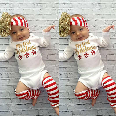 USA Newborn Baby Girls Romper Jumpsuit Bodysuit Infant Headband Clothes Outfit