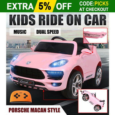 Kids Electric Ride On Car Porsche Macan Style Children Toy Remote Dual Speed 12V