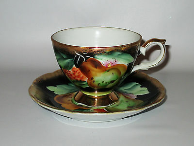 Shafford Japan Cup & Saucer Hand Painted Fruit Black Gold Green Vintage