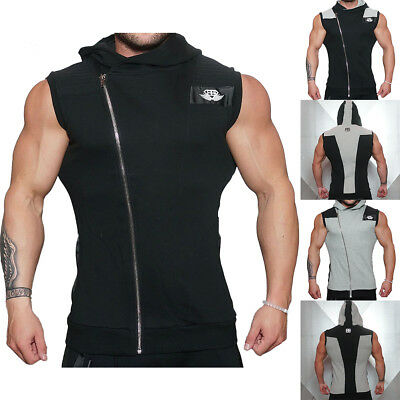 Singlets Tank Tops Mens Sleeveless Gym T Shirts Bodybuilding Hoodies Cotton
