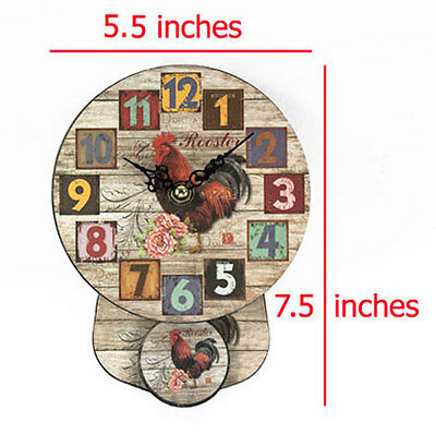 Wooden wall clock small pendulum vintage retro round style 12 hr room decor