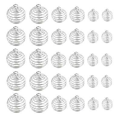 30Pcs Silver Plated Spiral Bead Cages Pendants for Charm Jewelry Making 3 Sizes