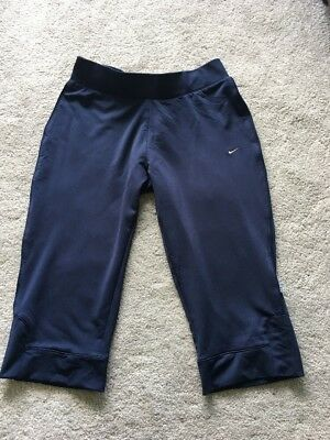 Nike Dri Dry Fit Navy Blue Tight Fittted Long Shorts Gym Running Size XS 6 8