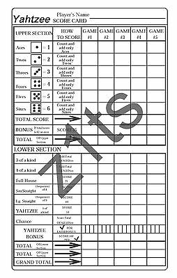 Yahtzee Score Sheets (Pads, Cards or Refills)