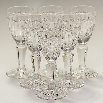 Galway Castlerose Cut Foot Six Tall Stem Liqueur Cordial Glasses - signed