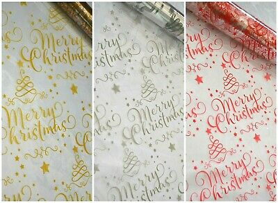CHRISTMAS CLEAR cellophane red gold silver present gift wrapping santa