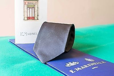 MARINELLA NAPOLI cravatta seta silk tie GRIGIO GREY Originale Made In Italy
