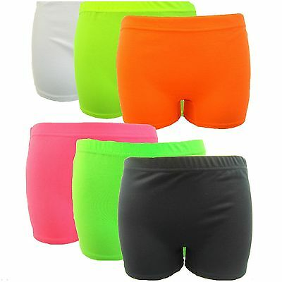 New Children's Neon Plain Stretchy Hot Pants Shorts Party Club Size 5 to 13