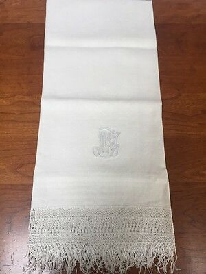 Wonderful Vintage Antique Show Towel Monogrammed With Fringe