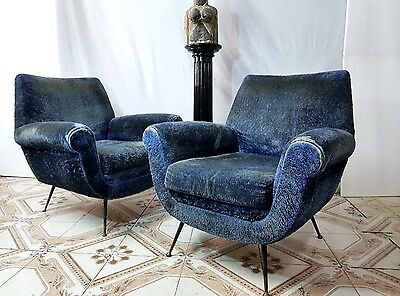 Coppia poltrone in stoffa Pair of Armchairs by Gigi Radice for Minotti 1959