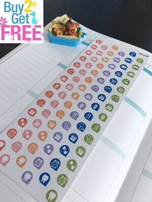 PP228 -- Little Icons Life Planner Die-cut Stickers for Erin Condren (126pcs)
