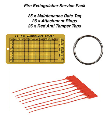 Fire Extinguisher Service Pack - 25 x Date Tags, Rings & Anti Tamper Tags