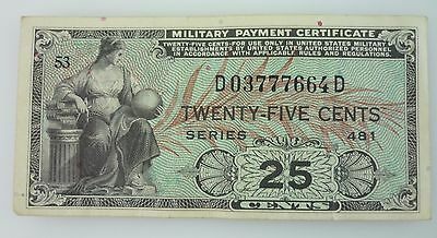 Series 481 25 Cents United States Military Payment Certificate ~4526~