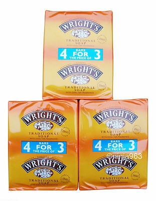 12 x Wright's Traditional Soap With Coal Tar Fragrance 125g Bars