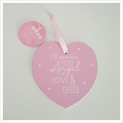 ♡♡♡ Pink hanging heart. A precious little angel to love and cherish. New ♡♡♡